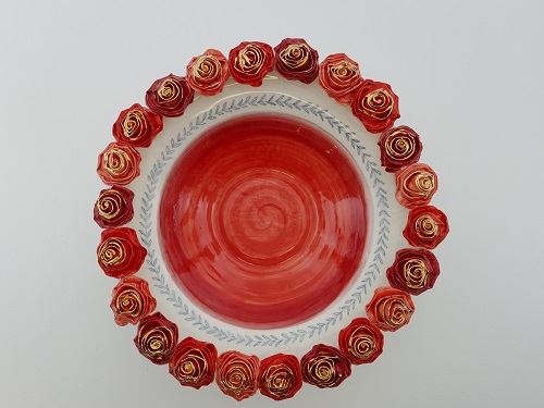Red Rose Decorative Bowl Large Chic